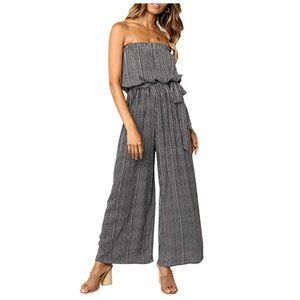 Pull-On Bow Tie Belt Pleated Flare Jumpsuit